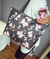 Promotional pu leather tote bag flower PU bag for shopping
