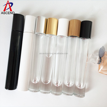 Travel set round refillable 10ml glass perfume spray bottles with silver gold cap