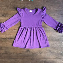 baby cotton frocks designs soild color raglan dresses fall season newest toddler dress