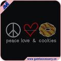 Custom Peace Love Cookie motif iron on hotfix rhinestone heart transfer for garment wholesale