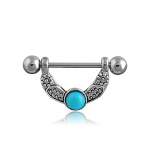 NB-255 Safe Medical Stainless Steel V Shape Nipple Cones Body Jewelry With Turquoise