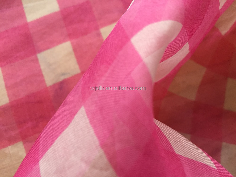 CHECK PRINT CHINA SILK ORGANZA FABRIC IN 3 COLORWAYS FOR BLOUSE