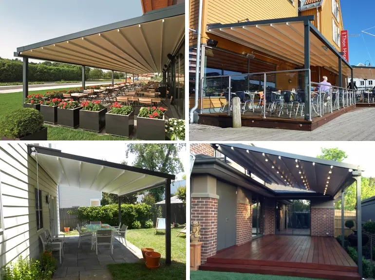 The multifunctional Retractable Canvas Pergola Sun Shade Awnings In Stock