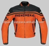 Summer motorcycle race street leather jackets Orange Florescent with Black