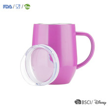 Double layer cup steel with handle stainless stemless tumbler vacuum insulated