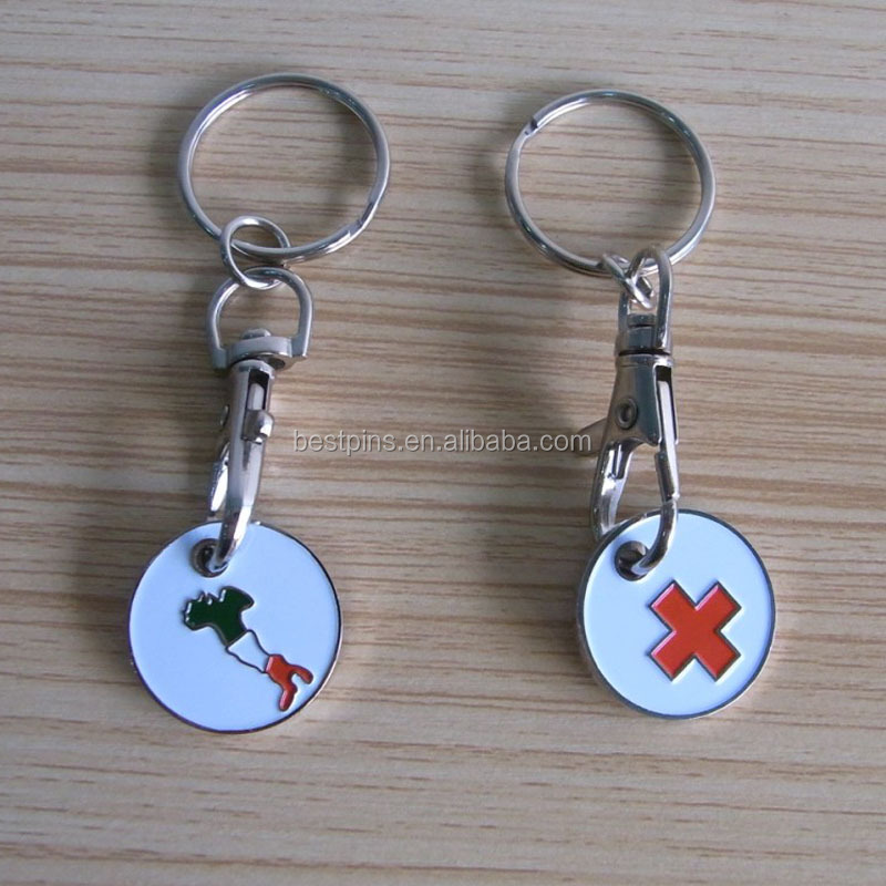 red cross engraved on trolley coin keyring