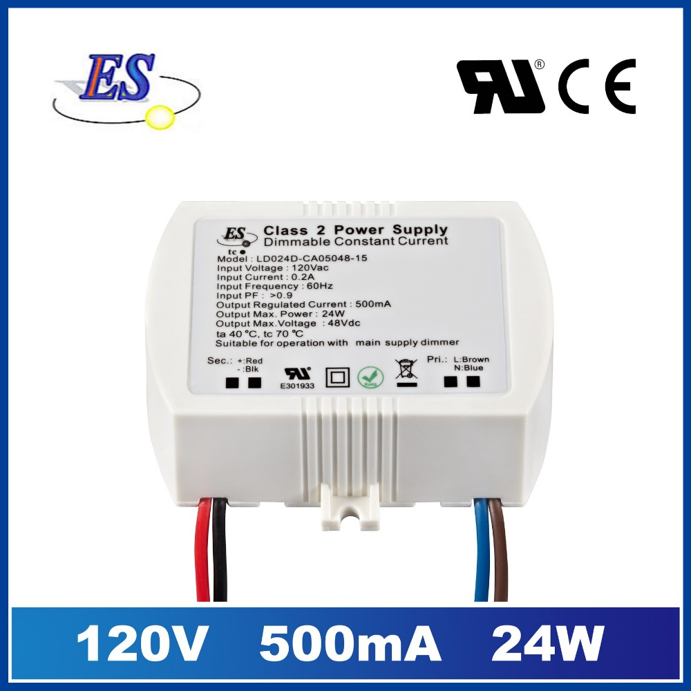 ES 120Vac 20-48Vdc 500mA 24W constant current led driver power supply with TRIAC dimming,UL CUL IP65