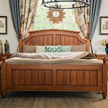 F40619A-1 European antique style furniture hand carved wood twin bed for bedroom