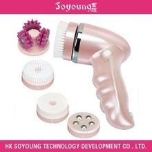 Waterproof rechargeable rotary facial brush with 4 attachments