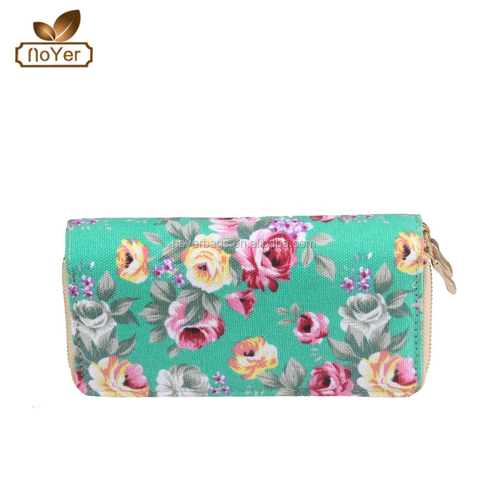 Price factory female wallets cheap printed canvas purse