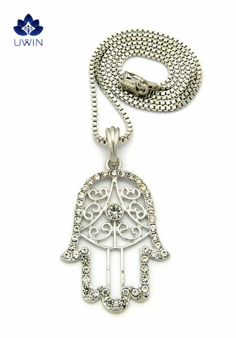 Paved Hamsa Palm Good Luck High Quality Hip Hop Jewelry Pendant Box Chain Necklace