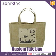 Printed Jute Shopping Bag Jute Tote Bag With Leather Handles