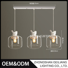 American Minimalist Resin Bird Droplight Glass Restaurant Led Chandelier