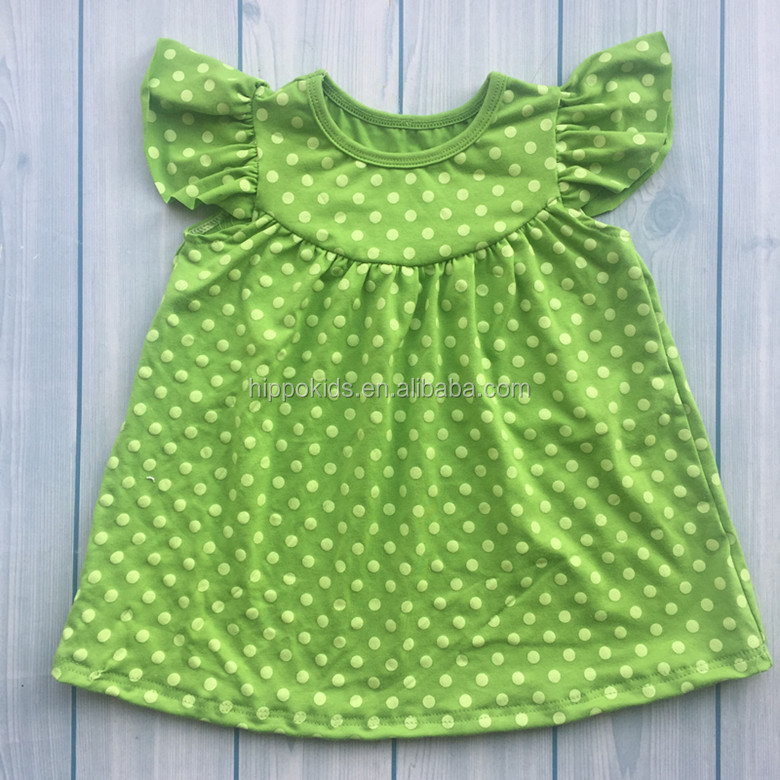 New Arrival children dresses 2017 boutique polka dot pearl dresses baby cotton frocks designs