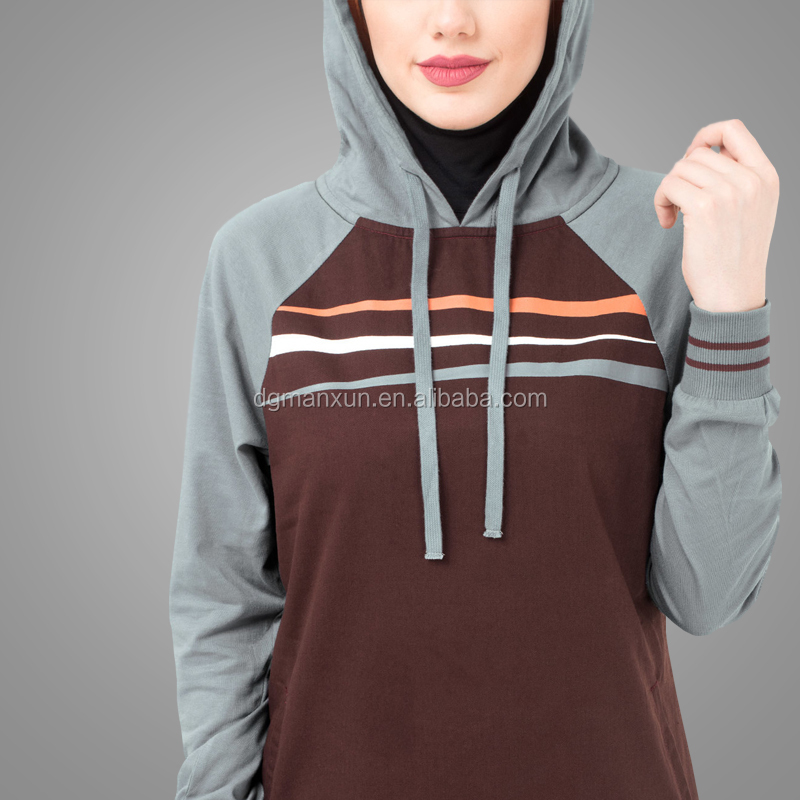 Muslim Women Sportswear Modern Simple Style Cosy Hoodie Jilbab Sport Dress