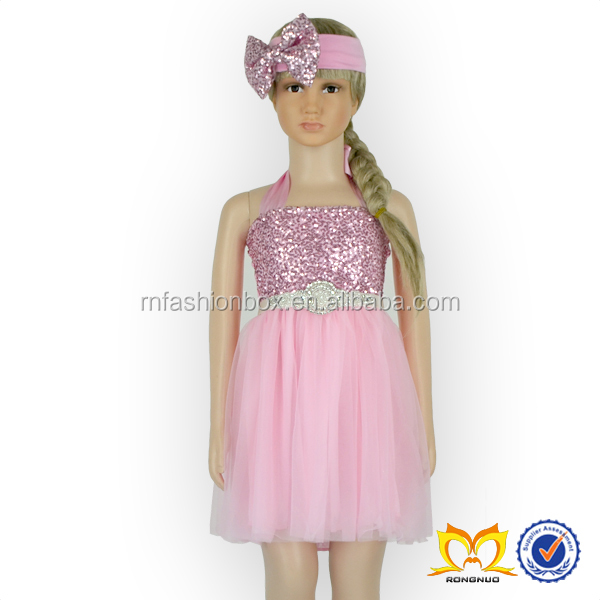 Halter Sequin Girls Frock Designs For Party, Pink Puffy Dresses For Girls, Girl Party Wear Western Dress