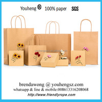 High quality package bag supplier with rope handle , kraft paper craft birthday gift party bag