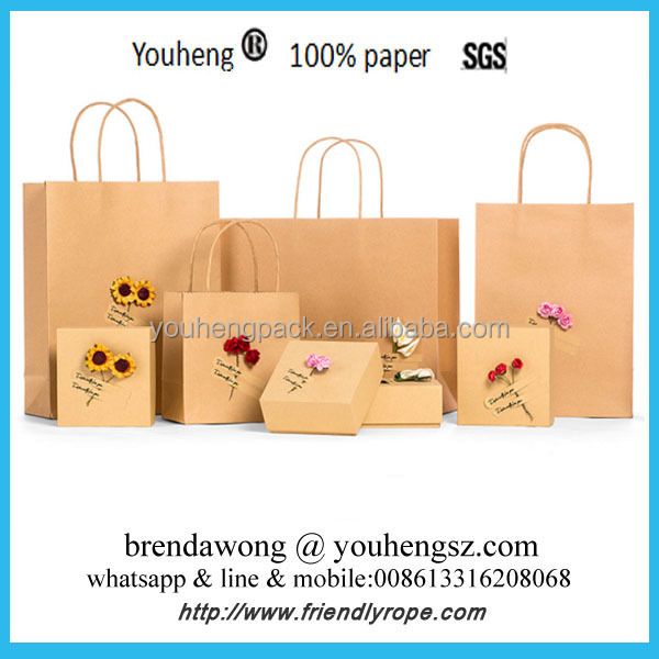 High quality pakage bag supplier with rope handle , kraft paper craft birthday gift party bag
