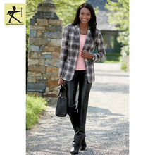 2017 custom fashion winter white black plus size plaid printed causal blazer women ladies formal blazer