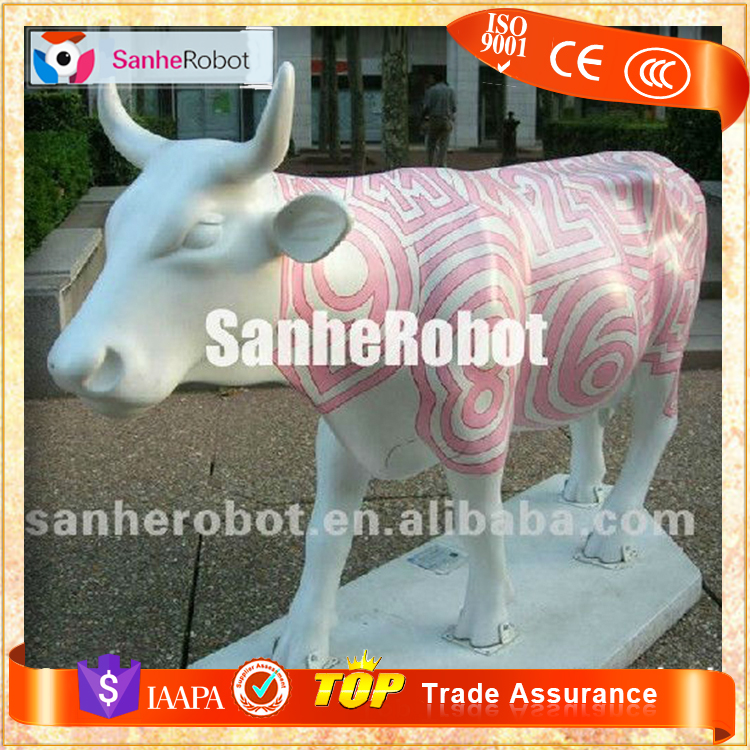 SH-F076 Fiberglass Animated Cow for Outdoor Decoration