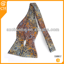 Korea Style High Visibility Cheap Price Paisley Silk Self Tie Bow Tie