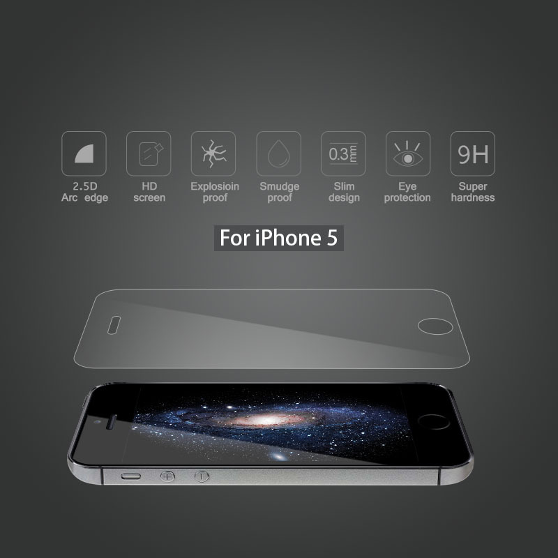 Factory Price Color tempered glass screen protector for iphone 5 5s tempered glass