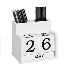 perpetual white paint wooden table calendar with pen holder