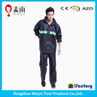 cool breathable black pvc rain poncho with reflectors