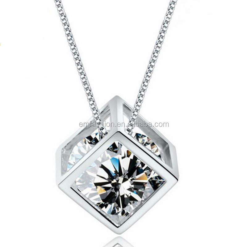 Delicate Love Cube Zircon Square Silver Pendant <strong>Jewelry</strong>