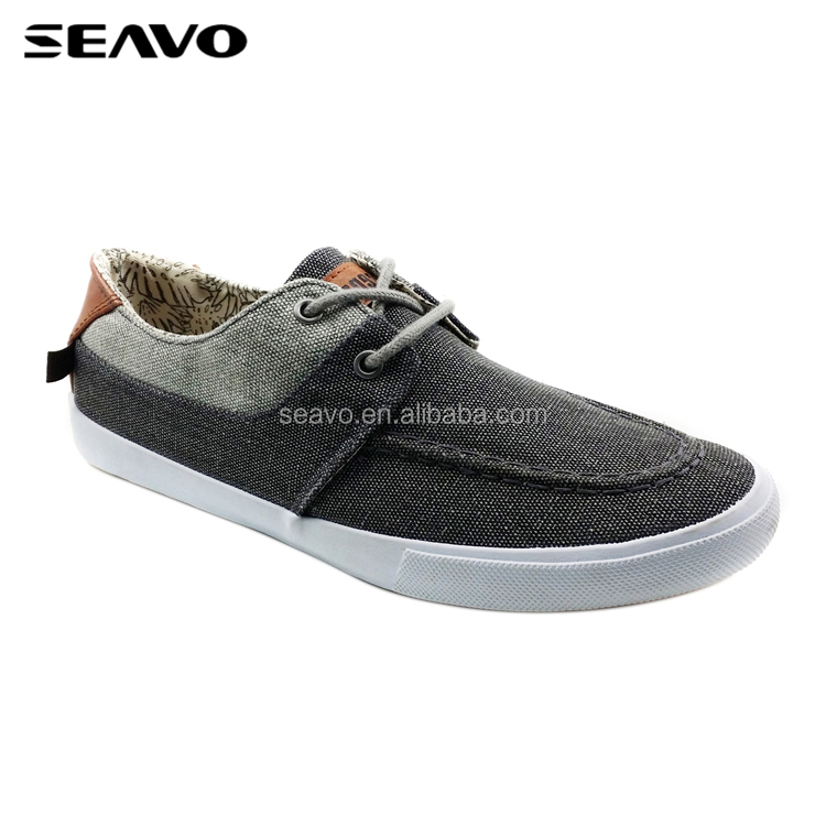 SEAVO SS18 lace up blank jeans splicing canvas shoes plains black men casual shoes