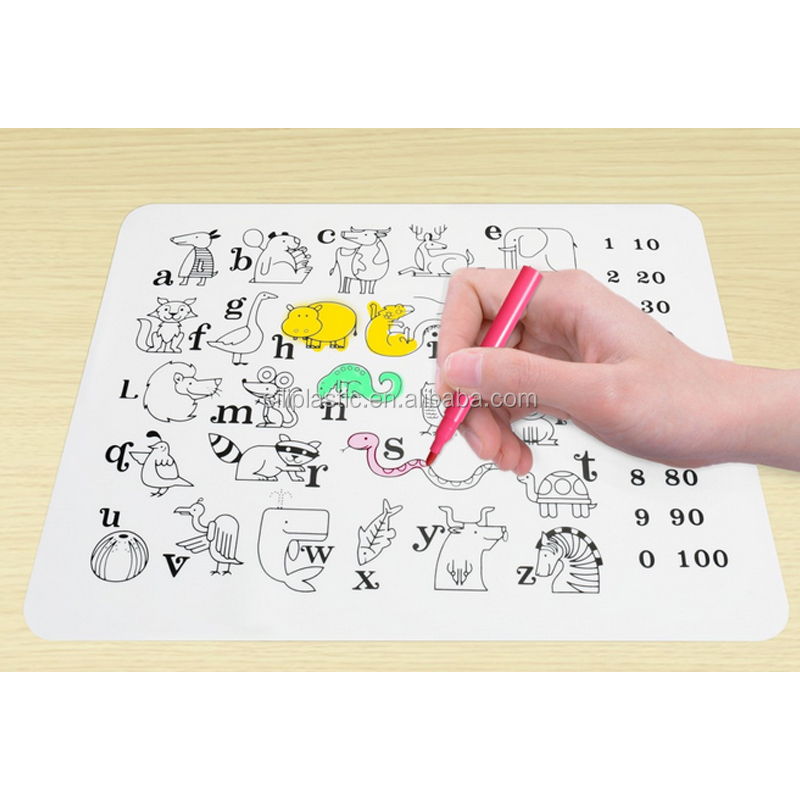 OEM Ingenious Heat Protection Drawing Kids Silicone Placemat Table Mat