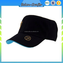 Men Women Cadet Military Army Style Sports Baseball Flat Top Caps With Gold Printing Logo