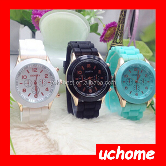 UCHOME Fashion Women's Geneva Silicone Jelly Gel Quartz Analog Wrist Watch China Cheaper Watches