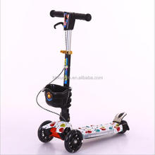 Chinese factory high quality 3 PU wheels kids scooter with sparkling light