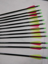 linkboy Archery black Carbon arrow with 3'' plastic vanes for compound bow hunting