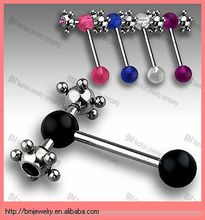 unique and fashion design double-atom-spike-on-uv-ball-tongue-ring barbell body piercing jewelry