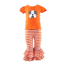 Wholesale boutique kids Halloween cotton baby ruffle set little girls clothing