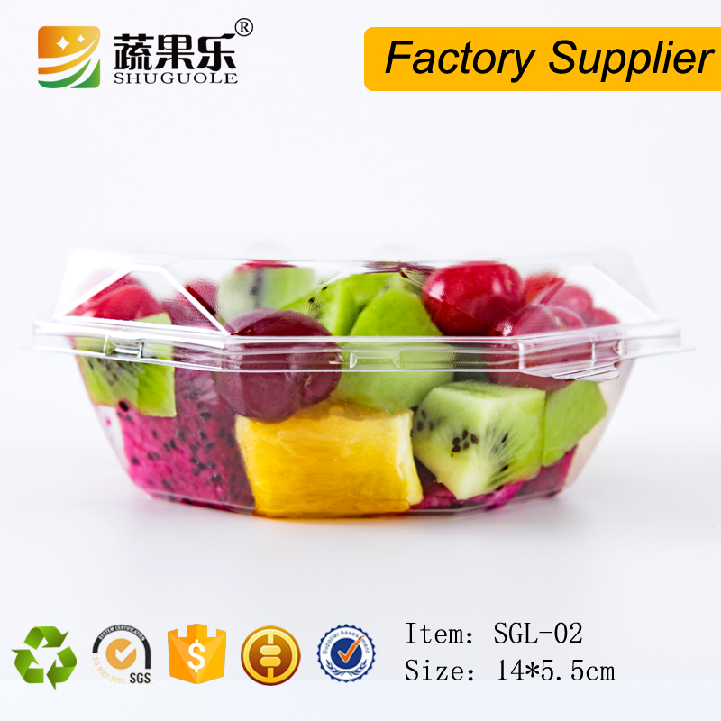 Disposable clear cut fruit salad packaging box