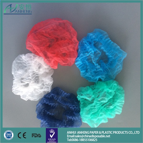Disposable Non Woven Bouffant Caps long hair net with different colors
