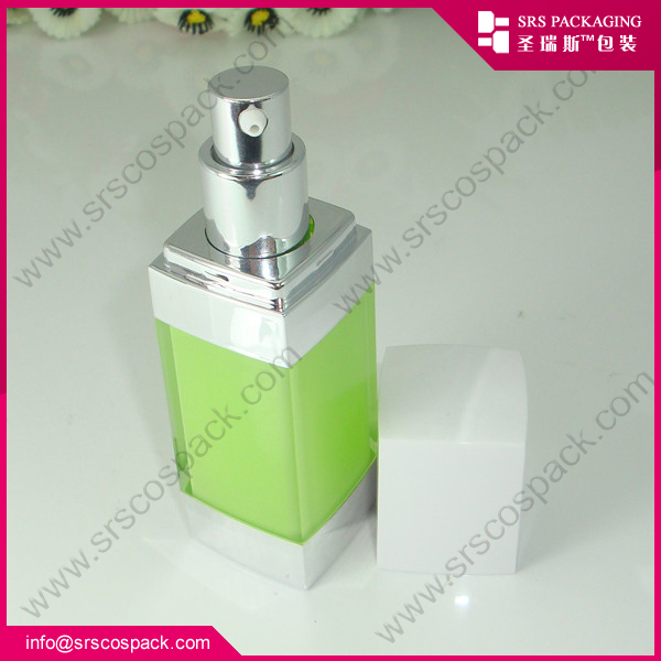 Acrylic Square Shape Green And Sliver Cap Airless Pump Or Spray Cosmetic Skincare Bottle Plastic 50ml