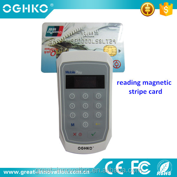 Bluetooth magnetic stripe chip smart card reader with pin