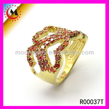IMPORTAR BISUTERIA CHINA,HEART RING GOLD JEWELRY WITH AAA RUBY ZIRCONIA