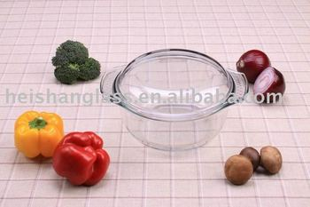 1.0L round tempered glassware casserole with lid