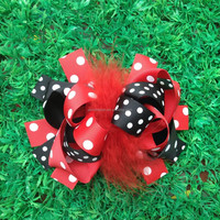 Hot-sales 6 inch feather ribbon Hair bow Girls hair bows Red Black polka dot Boutique Hair bow CB-3628
