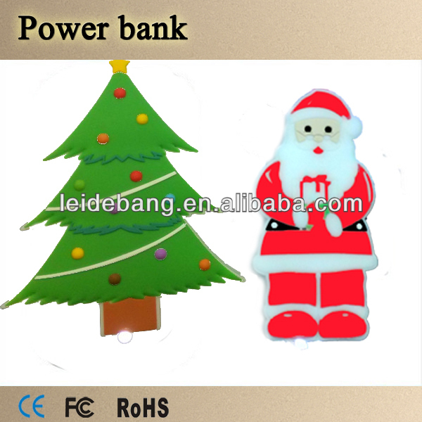 Best quality christmas gift Santa claus and christmas tree model power bank 2600mah Paypal Accept