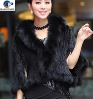 Hot Selling One Size Real Knitted Mink Fur Women Shawl with Fox Fur Trimming