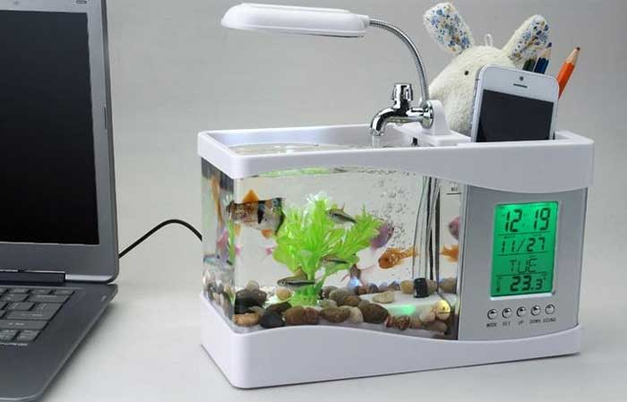 Aquarium accessory 10 in one fish bowl mini design usb charging fish tank