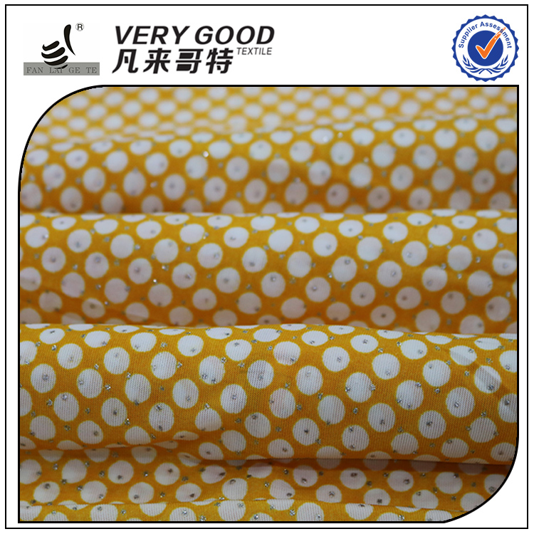 Exporting standard FDY gold printed knitted fabric, fancy dress fabric