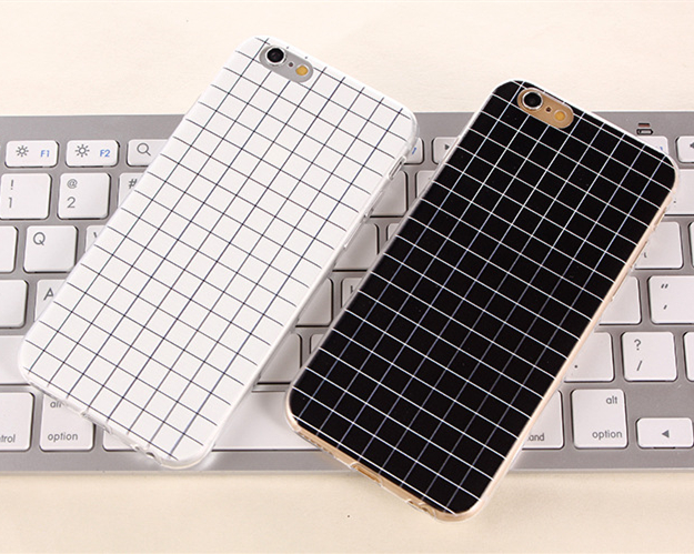 Ultra Thin England Black and White Small Grid Soft Gel Skin Cover TPU Case For iPhone 6 6Plus 5/5S