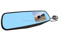 "Alibaba best dual camera car dvr 4.3"" inch full hd 1080p Allwinner F23 rearview mirror dvr video recorder"